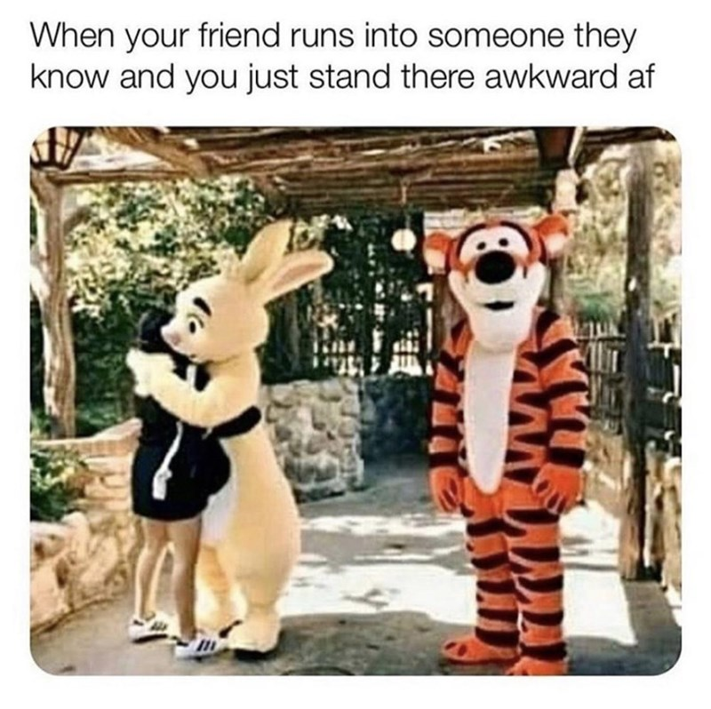 Cartoon - When your friend runs into someone they know and you just stand there awkward af