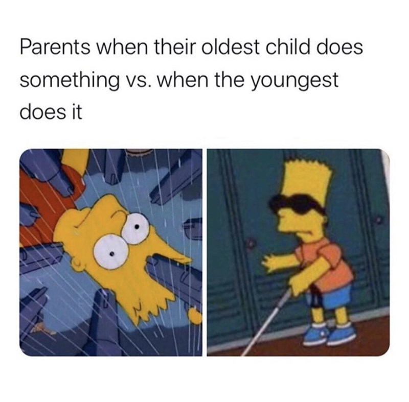 Animated cartoon - Parents when their oldest child does something vs. when the youngest does it