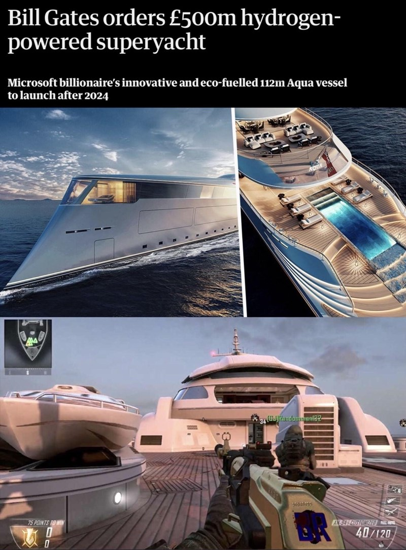 Luxury yacht - Bill Gates orders £500m hydrogen- powered superyacht Microsoft billionaire's innovative and eco-fuelled 112m Aqua vessel to launch after 2024 (GJJkandommenl2- 75 POINTS TO WIN 94 CUSTOMIZED RULL-AUTO 40/120