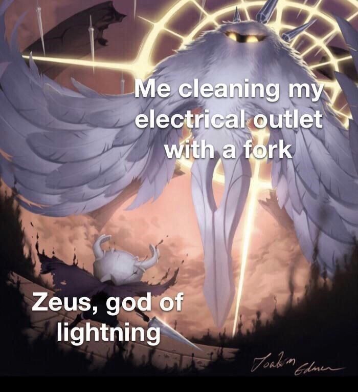 """Wing - Me cleaning my electrical outlet with a fork Zeus, god of lightning yEプubm """"Clmen"""