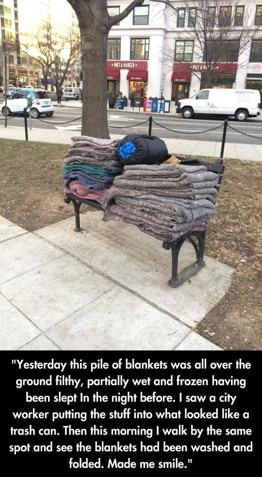 """Furniture - * PETA MANCER """"Yesterday this pile of blankets was all over the ground filthy, partially wet and frozen having been slept In the night before. I saw a city worker putting the stuff into what looked like a trash can. Then this morning I walk by the same spot and see the blankets had been washed and folded. Made me smile."""""""