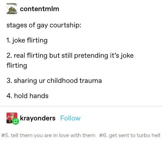 Text - contentmlm stages of gay courtship: 1. joke flirting 2. real flirting but still pretending it's joke flirting 3. sharing ur childhood trauma 4. hold hands krayonders Follow # 5. tell them you are in love with them #6. get sent to turbo hell