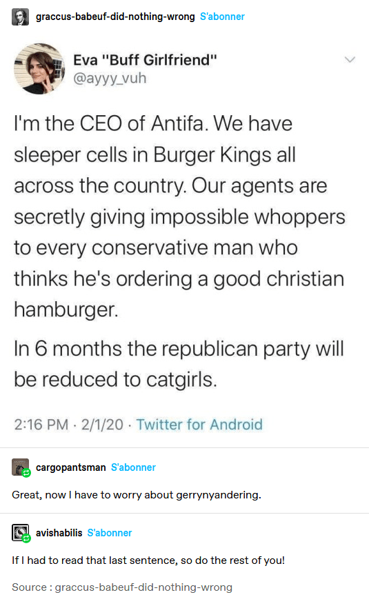 """Text - graccus-babeuf-did-nothing-wrong S'abonner Eva """"Buff Girlfriend"""" @ayyy_vuh I'm the CEO of Antifa. We have sleeper cells in Burger Kings all across the country. Our agents are secretly giving impossible whoppers to every conservative man who thinks he's ordering a good christian hamburger. In 6 months the republican party will be reduced to catgirls. 2:16 PM 2/1/20 · Twitter for Android cargopantsman S'abonner Great, now I have to worry about gerrynyandering. avishabilis S'abonner If I had"""