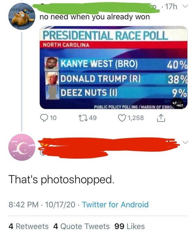 Text - • 17h no need when you already won PRESIDENTIAL RACE POLL NORTH CAROLINA KANYE WEST (BRO) DONALD TRUMP (R) DEEZ NUTS (I) 40% 38% 9% PUBLIC POLICY POLLING /MARGIN OF ERRO +ALT 10 2749 1,258 That's photoshopped. 8:42 PM · 10/17/20 Twitter for Android 4 Retweets 4 Quote Tweets 99 Likes