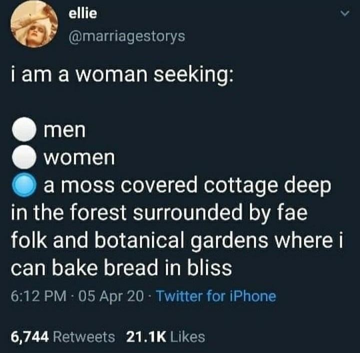 Text - ellie @marriagestorys i am a woman seeking: men women a moss covered cottage deep in the forest surrounded by fae folk and botanical gardens where i can bake bread in bliss 6:12 PM 05 Apr 20 Twitter for iPhone 6,744 Retweets 21.1K Likes