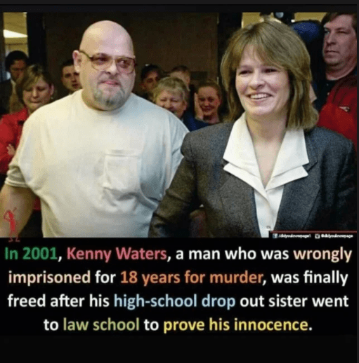 People - In 2001, Kenny Waters, a man who was wrongly imprisoned for 18 years for murder, was finally freed after his high-school drop out sister went to law school to prove his innocence.
