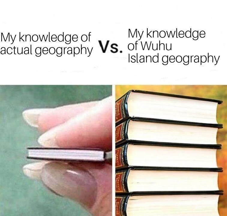 Text - My knowledge My knowledge of actual geography Vs. of Wuhu Island geography