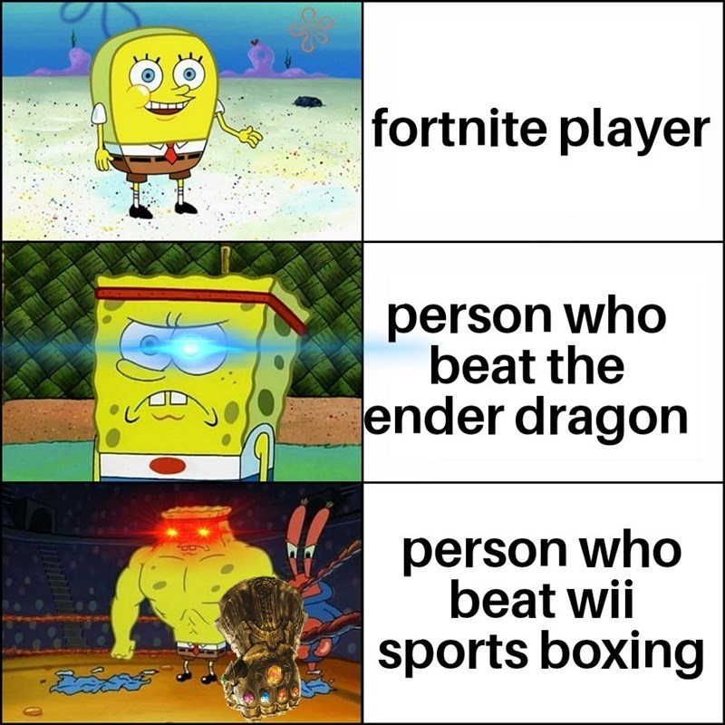 Cartoon - fortnite player person who beat the ender dragon person who beat wii sports boxing
