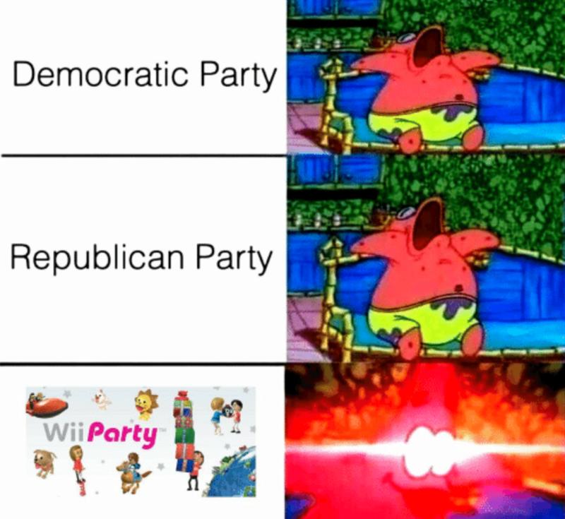 Cartoon - Democratic Party Republican Party WiiParty