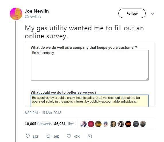 Text - Joe Newlin Follow @newlinla My gas utility wanted me to fill out an online survey. What do we do well as a company that keeps you a customer? Be a monopoly. What could we do to better serve you? Be acquired by a public entity (municipality, etc.) via eminent domain to be operated solely in the public interest by publicly-accountable individuals. 8:39 PM - 15 Mar 2018 10,005 Retweets 46,981 Likes 142 t7 10K 47K