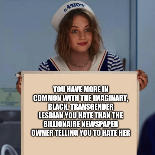 Text - AHO YOU HAVE MORE IN COMMON WITH THE IMAGINARY, BLACK, TRANSGENDER LESBIAN YOU HATE THAN THE BILLIONAIRE NEWSPAPER OWNER TELLING YOU TO HATE HER