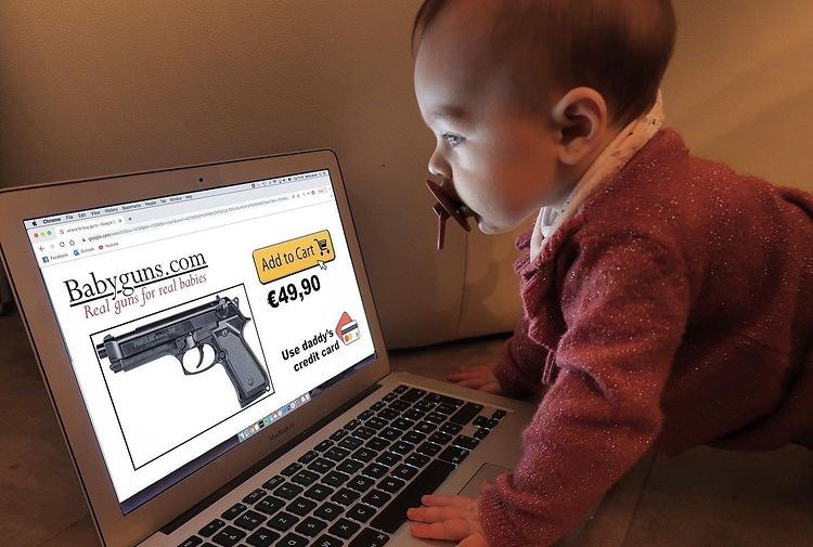 Child - Ce te . CO Babyguns.com Real guns for real babies Add to Cart €49,90 Use daddy's credit card