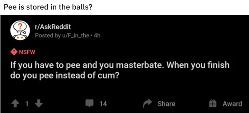 Text - Pee is stored in the balls? r/AskReddit Posted by u/F_in_the • 4h • NSFW If you have to pee and you masterbate. When you finish do you pee instead of cum? 14 Share Award