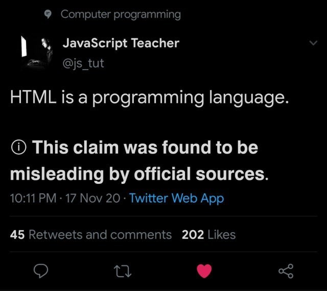 Text - 9 Computer programming JavaScript Teacher @js_tut HTML is a programming language. O This claim was found to be misleading by official sources. 10:11 PM · 17 Nov 20 · Twitter Web App 45 Retweets and comments 202 Likes