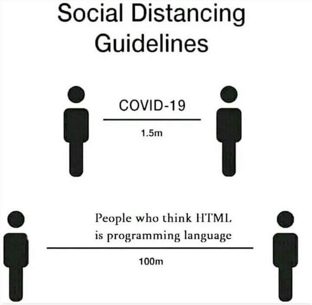 Text - Social Distancing Guidelines COVID-19 1.5m People who think H'TML is programming language 100m