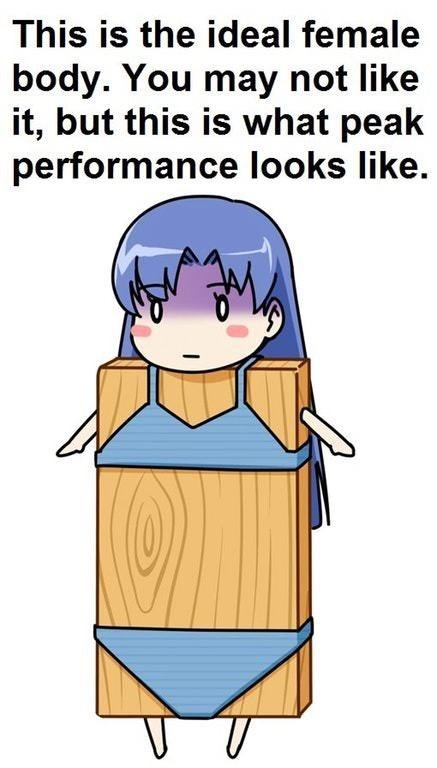 Cartoon - This is the ideal female body. You may not like it, but this is what peak performance looks like.