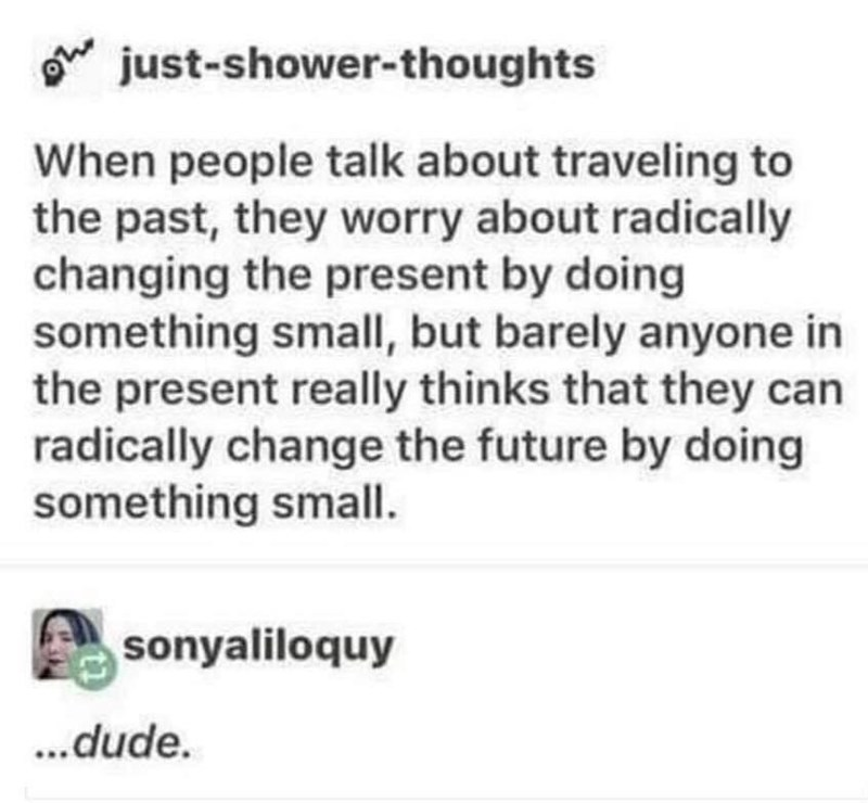 Text - just-shower-thoughts When people talk about traveling to the past, they worry about radically changing the present by doing something small, but barely anyone in the present really thinks that they can radically change the future by doing something small. sonyaliloquy ...dude.