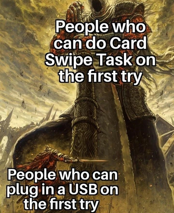 Text - People who can do Card Swipe Task on the first try People who can plug in a USBon the first try