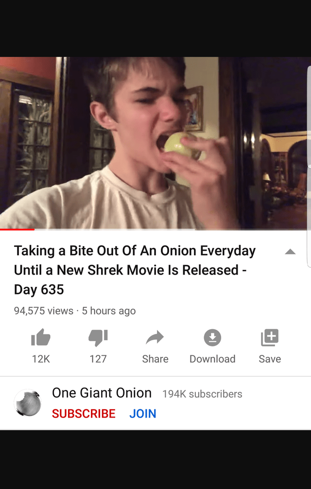 Photo caption - Taking a Bite Out Of An Onion Everyday Until a New Shrek Movie Is Released - Day 635 94,575 views · 5 hours ago 12K 127 Share Download Save One Giant Onion 194K subscribers SUBSCRIBE JOIN