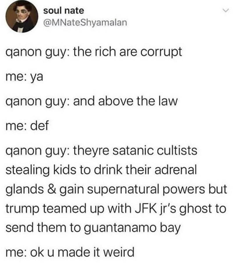 Text - soul nate @MNateShyamalan qanon guy: the rich are corrupt me: ya qanon guy: and above the law me: def qanon guy: theyre satanic cultists stealing kids to drink their adrenal glands & gain supernatural powers but trump teamed up with JFK jr's ghost to send them to guantanamo bay me: ok u made it weird