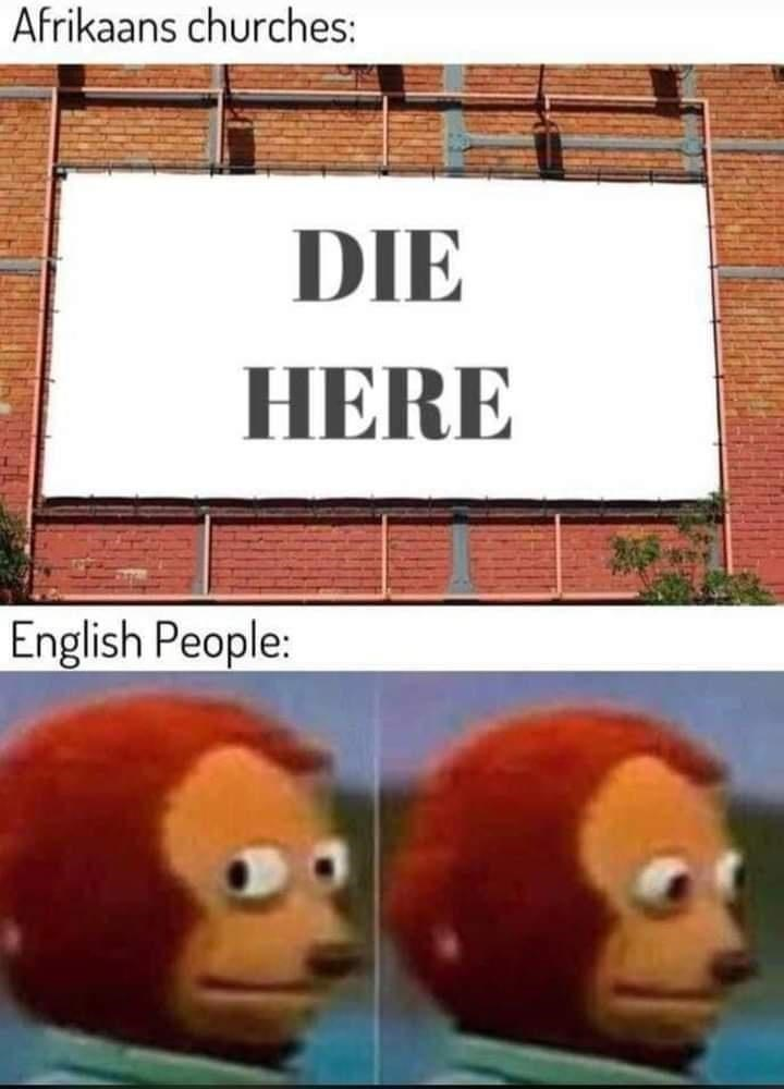 Cartoon - Afrikaans churches: DIE HERE English People: