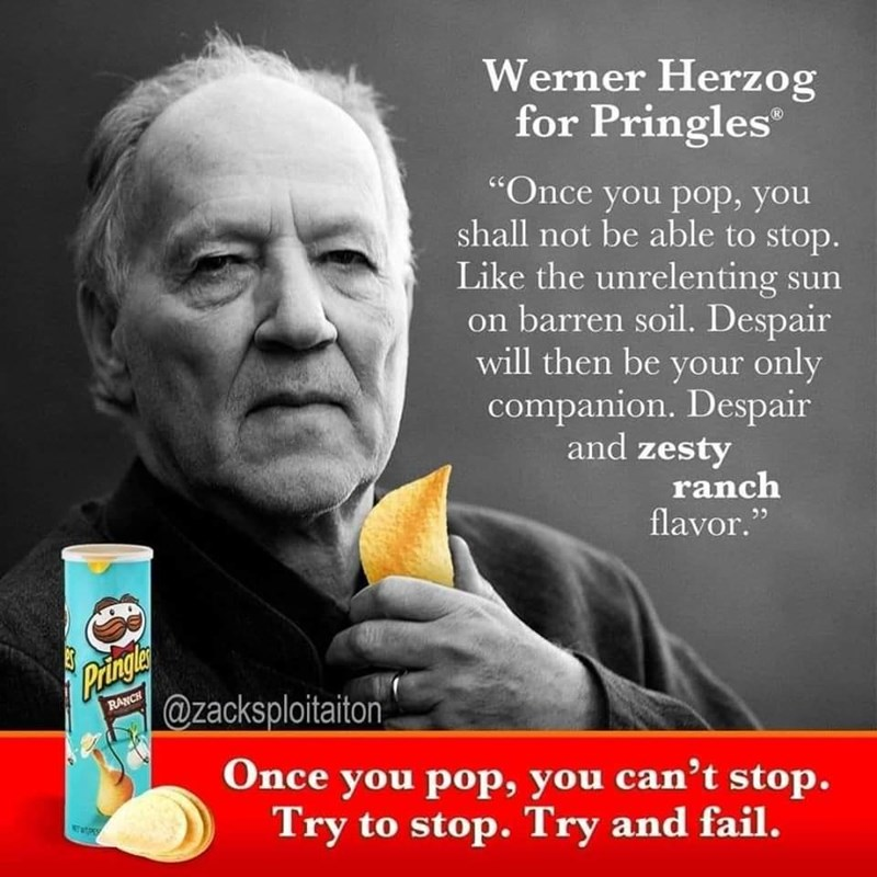 """Text - Werner Herzog for Pringles """"Once you pop, you shall not be able to stop. Like the unrelenting sun on barren soil. Despair will then be your only companion. Despair and zesty ranch flavor."""" Pringle @zacksploitaiton, RANCH Once you pop, you can't stop. Try to stop. Try and fail. wat জ"""