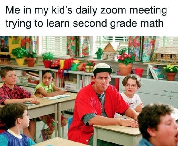 Community - Me in my kid's daily zoom meeting trying to learn second grade math