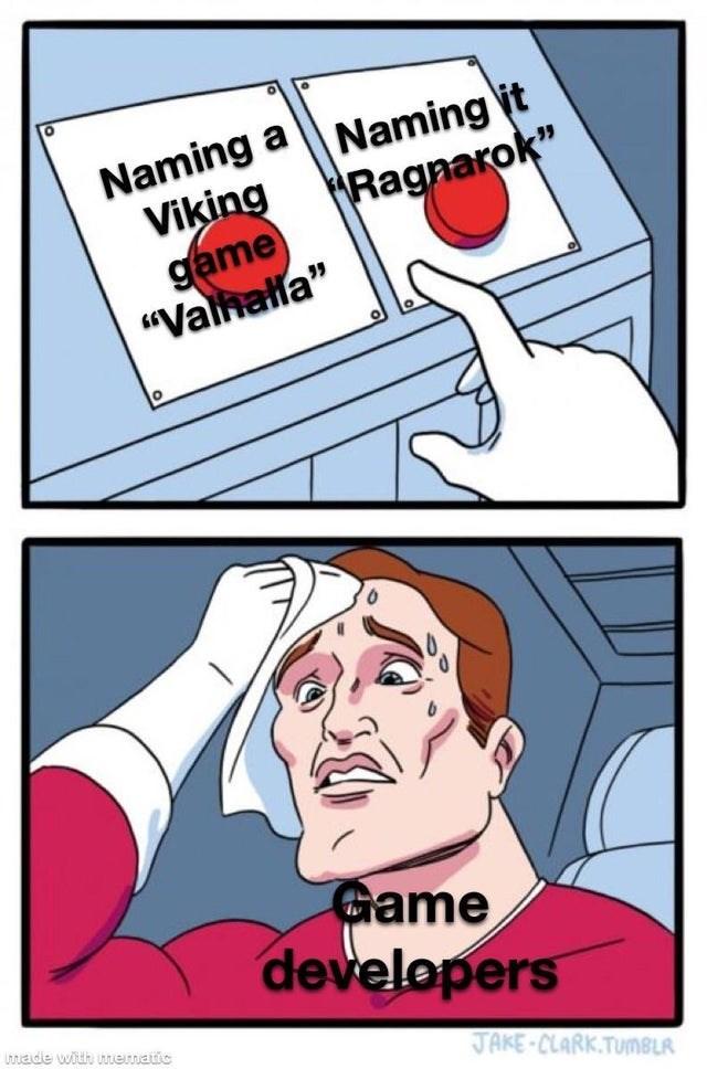 """Cartoon - Naming a Naming it Viking game """"Valhalla"""" Ragnarok"""" Game developers Ltnade with mematic JAKE-CLARK.TUMBLR"""