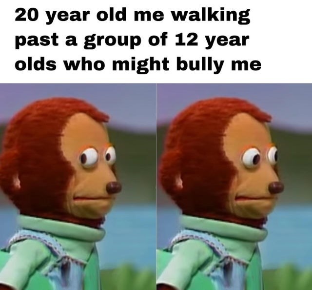 Animated cartoon - 20 year old me walking past a group of 12 year olds who might bully me