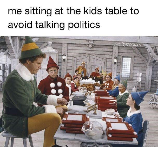 Adaptation - me sitting at the kids table to avoid talking politics prettycooltim