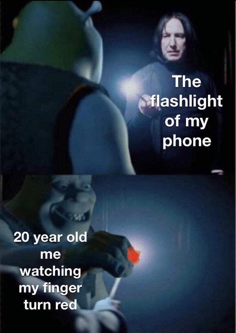 Photo caption - The flashlight of my phone 20 year old me watching my finger turn red