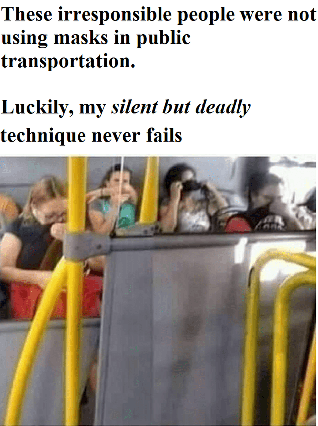 Amusement ride - These irresponsible people were not using masks in public transportation. Luckily, my silent but deadly technique never fails