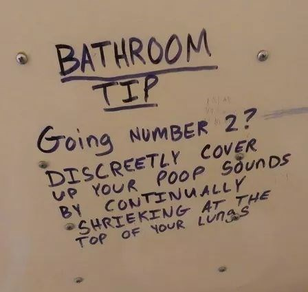 Text - BATHROOM TIP Going NUMBER 2? DISCREETLY COVER UP YOUR POOP SõunDS BY CONTINUALLY •SHRIEKING AT THE TOP OF YOUR LUNGS