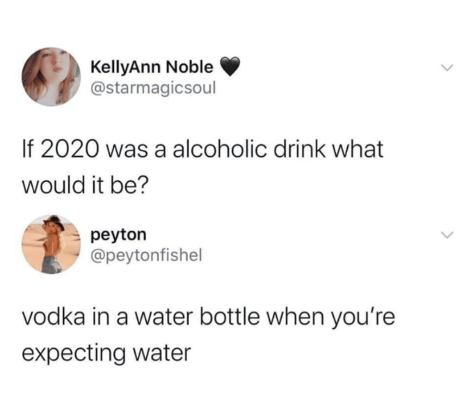 Text - KellyAnn Noble @starmagicsoul If 2020 was a alcoholic drink what would it be? peyton @peytonfishel vodka in a water bottle when you're expecting water