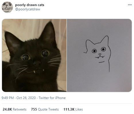 Cat - poorly drawn cats @poorlycatdraw 9:49 PM Oct 26, 2020 - Twitter for iPhone 24.8K Retweets 755 Quote Tweets 111.3K Likes