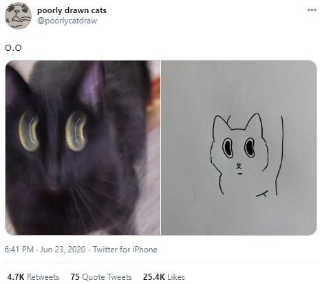 Cat - poorly drawn cats @pooriycatdraw 0.0 6:41 PM - Jun 23, 2020 - Twitter for iPhone 4.7K Retweets 75 Quote Tweets 25.4K Likes