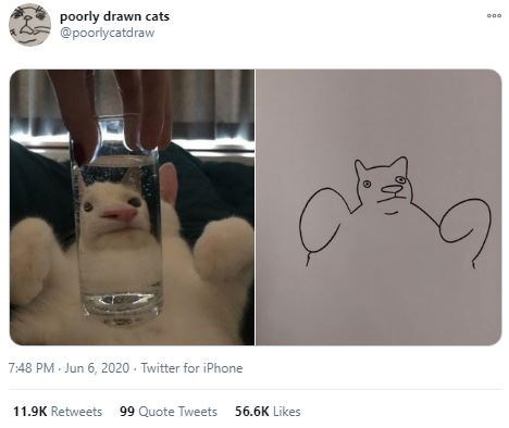 Head - poorly drawn cats @poorlycatdraw 7:48 PM Jun 6, 2020 - Twitter for iPhone 11.9K Retweets 99 Quote Tweets 56.6K Likes