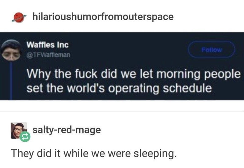 Text - hilarioushumorfromouterspace Waffles Inc Follow @TFWafftleman Why the fuck did we let morning people set the world's operating schedule salty-red-mage They did it while we were sleeping.