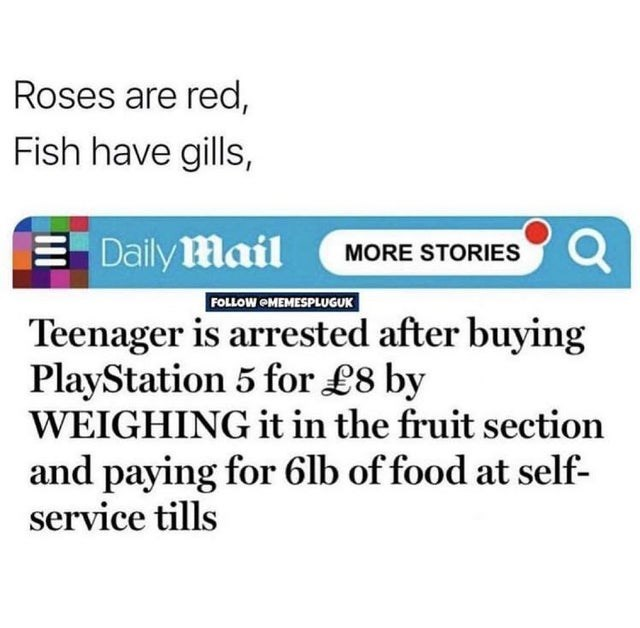 Text - Roses are red, Fish have gills, E Daily Mail MORE STORIES Q FOLLOW OMEMESPLUGUK Teenager is arrested after buying PlayStation 5 for £8 by WEIGHING it in the fruit section and paying for 6lb of food at self- service tills