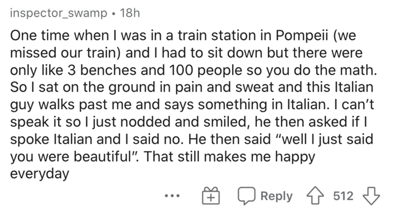 """Text - inspector_swamp • 18h One time when I was in a train station in Pompeii (we missed our train) and I had to sit down but there were only like 3 benches and 100 people so you do the math. So I sat on the ground in pain and sweat and this Italian guy walks past me and says something in Italian. I can't speak it so I just nodded and smiled, he then asked if I spoke Italian and I said no. He then said """"well I just said you were beautiful"""". That still makes me happy everyday   Reply 512 3 •.."""