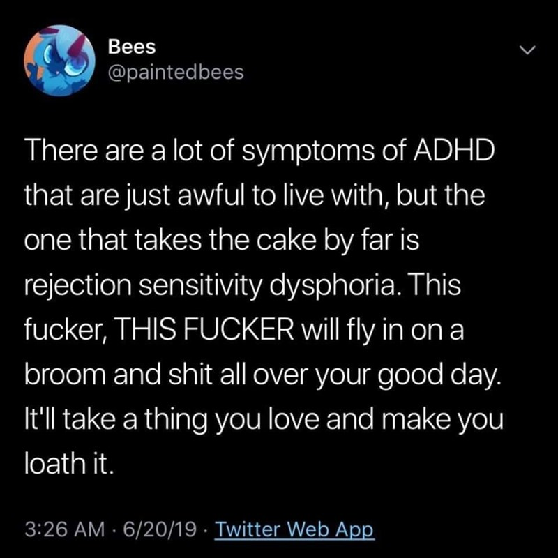 Text - Вees @paintedbees There are a lot of symptoms of ADHD that are just awful to live with, but the one that takes the cake by far is rejection sensitivity dysphoria. This fucker, THIS FUCKER will fly in ona broom and shit all over your good day. It'll take a thing you love and make you loath it. 3:26 AM · 6/20/19 · Twitter Web App