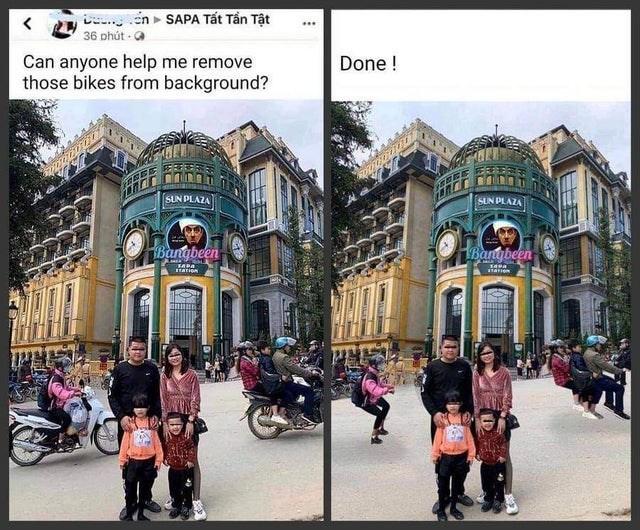 Town - L en SAPA Tất Tần Tật ... 36 phút Can anyone help me remove those bikes from background? Done ! SUN PLAZA SUN PLAZA Bangbeen Bangbeen TAPA 1ATION