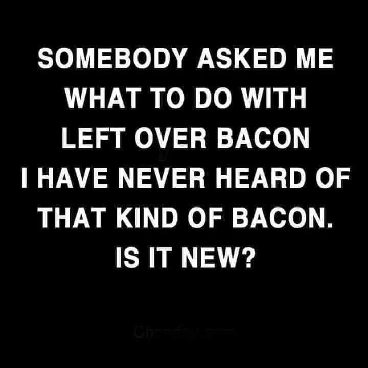 Font - SOMEBODY ASKED ME WHAT TO DO WITH LEFT OVER BACON I HAVE NEVER HEARD OF THAT KIND OF BACON. IS IT NEW? Ch