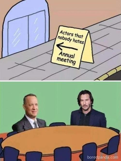 Cartoon - Actors that nobody hates Annual meeting boredpanda.com