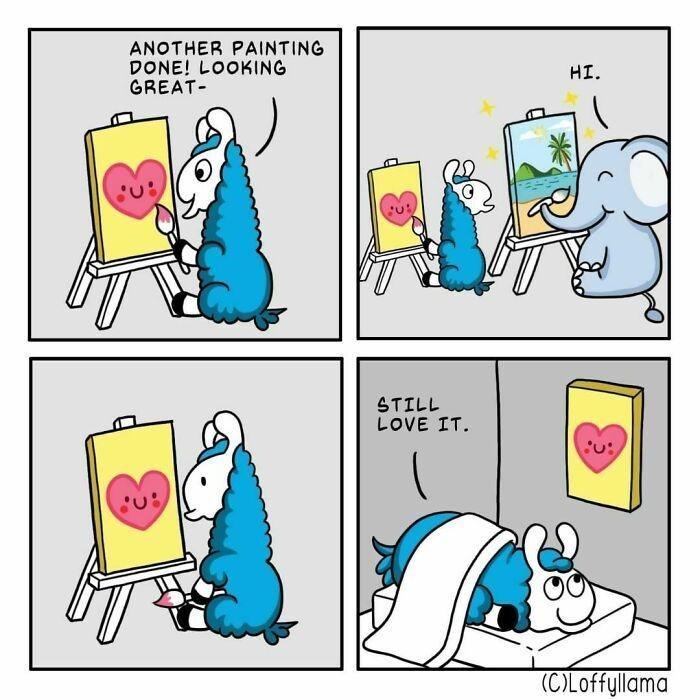 Cartoon - ANOTHER PAINTING DONE! LOOKING GREAT- HI. STILL LOVE IT. (C)Loffyllama