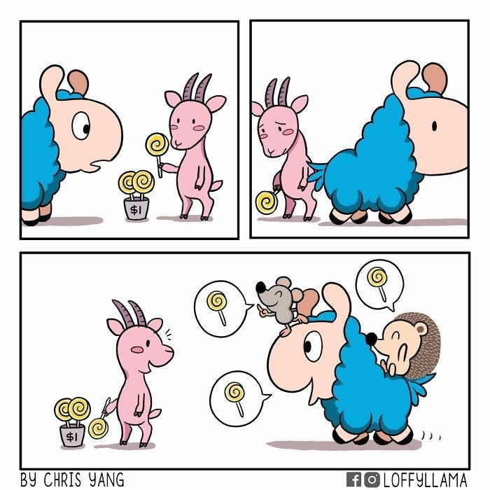 Cartoon - $1 $1 BY CHRIS YANG HOLOFFYLLAMA