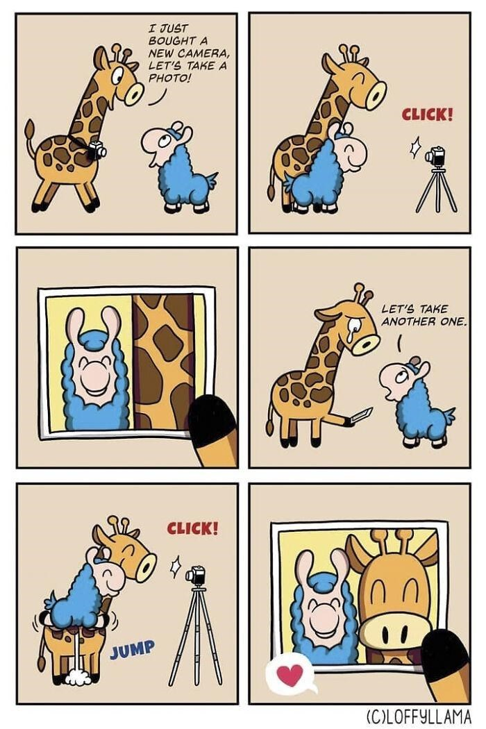 Cartoon - I JUST BOUGHT A NEW CAMERA, LET'S TAKE A PHOTO! CLICK! LET'S TAKE ANOTHER ONE. CLICK! JUMP (COLOFFYLLAMA