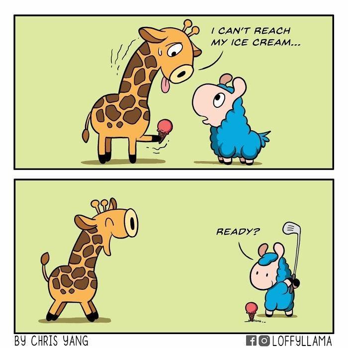 Cartoon - I CAN'T REACH MY ICE CREAM... READY? BY CHRIS YANG HOLOFFYLLAMA