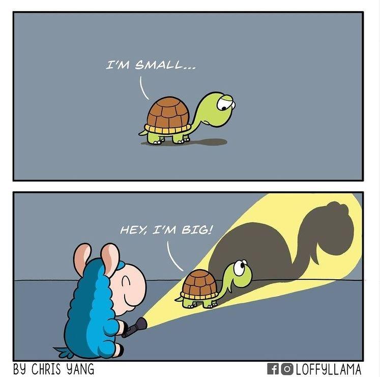 Cartoon - I'M SMALL... HEY, I'M BIG! BY CHRIS YANG FOLOFFYLLAMA