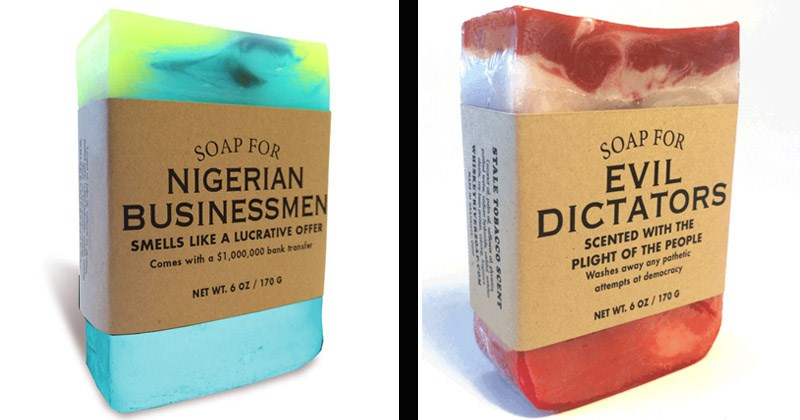 Funny and honest soap scents from Whiskey River Soap Co.